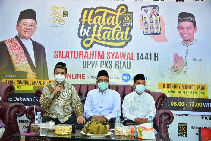 Di Acara Halal Bi Halal PKS Riau, Sohibul Sampaikan 3 Kebiasaan Baru Kader di Era New Normal