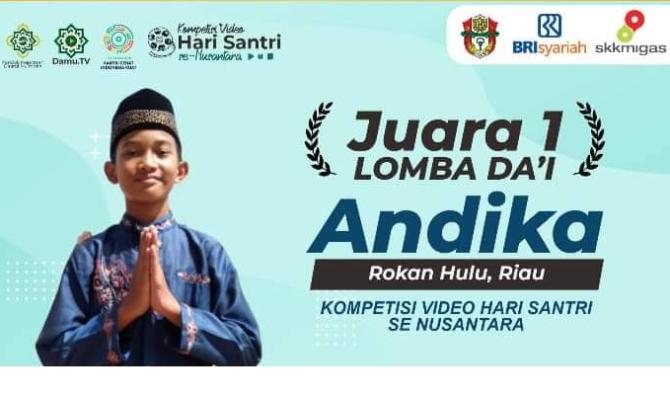 Putra Rohul Juara I Da'I Santri Nasional, Ismail Minta Pemda Berikan Apresiasi