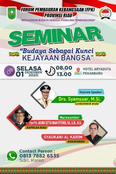 Besok, Gubri dan Kapolda Hadiri Seminar Kebudayaan dan Kebangsaan