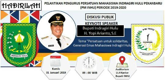 Pengurus PM Inhu Pekanbaru Dilantik 31 Januari Mendatang