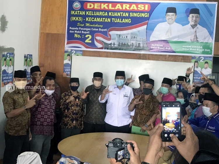 500 KK Asal Kuansing di Kecamatan Tualang Siap Menangkan Pasangan Alfedri-Husni