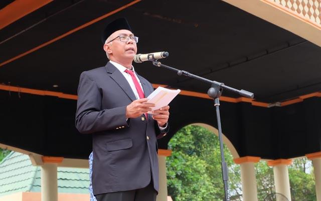 Pj Bupati Inhil Pimpin Upacara Peringatan Hardiknas, Otda dan Pencanangan Milad Inhil ke-53